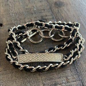 Diamond silver chain wraparound bracelet 🖤